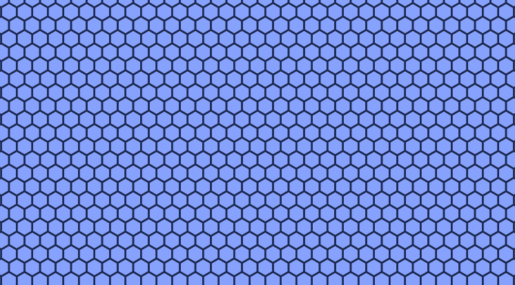 A dark grid of repeating hexagons lies in front of a blue background.