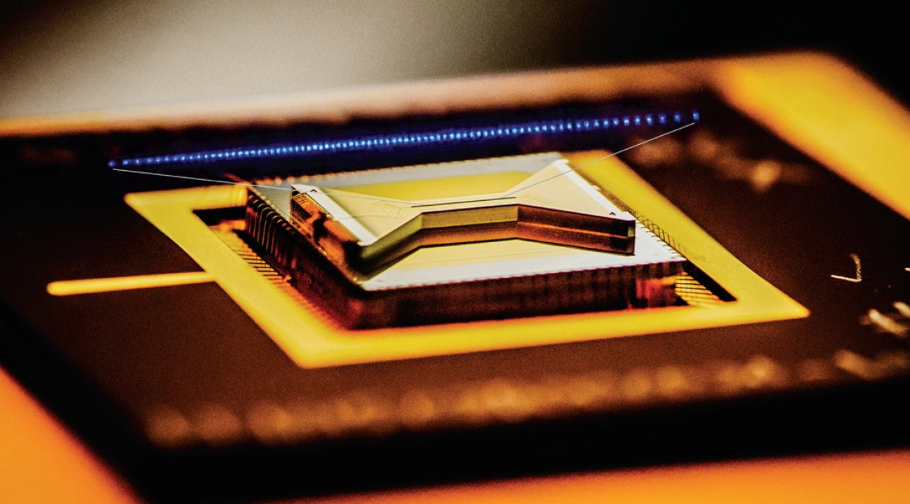 A photograph of an ion trap chip