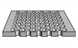 A common configuration for photonic crystal fabrication with imbedded dots.